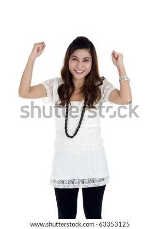 woman cheering with her fists in the air, isolated on white background - stock photo