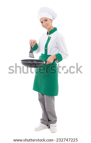 woman chef in uniform holding frying pan - full length isolated on white background - stock photo