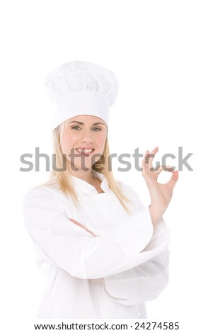 woman chef isolated on white making the ok sign - stock photo