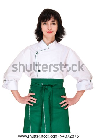 Woman chef portrait isolated on white - stock photo
