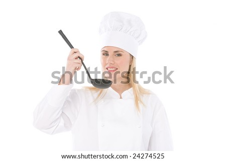 woman chef tasting soup with spoon isolated on white - stock photo