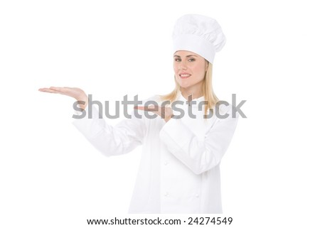 woman chef with palms up - stock photo