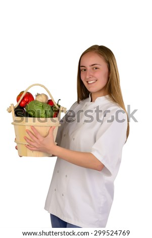 Woman Chef with vegetables - stock photo