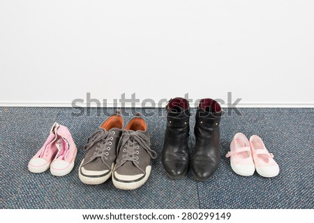 Woman, children and man shoes , family concept - stock photo