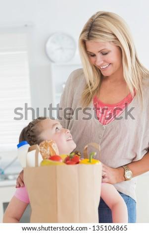 Woman choosing a button on digital touchscreen - stock photo