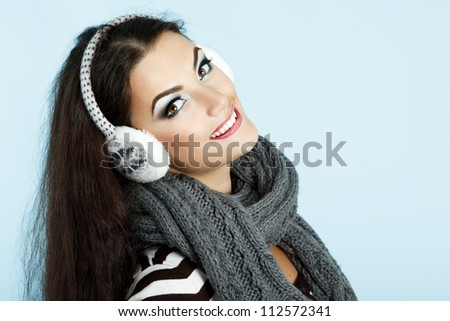 woman christmas, young beautiful smiling girl - stock photo