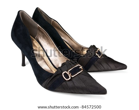 Woman classic shoes over white background