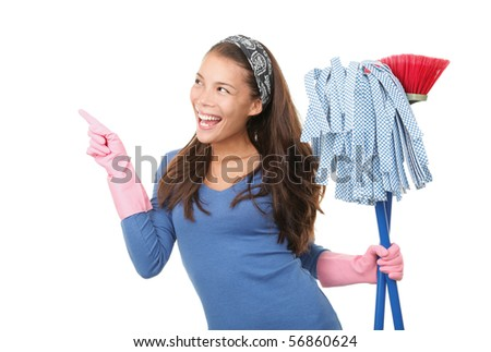 Woman Cleaning and pointing at / showing your product or message at the side. Isolated on white background. - stock photo