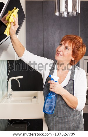 Woman cleaning the kitchen. Adult woman washing house - stock photo
