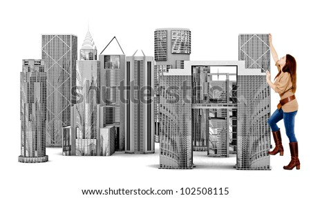 Woman climbing in a city - isolated over a white background - stock photo
