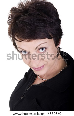 woman close up portrait over white background