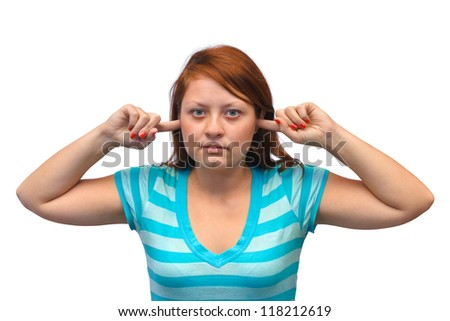 Woman closed ears isolated on white background - stock photo
