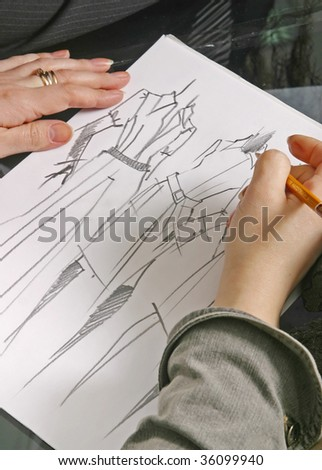 woman clothes designing - stock photo