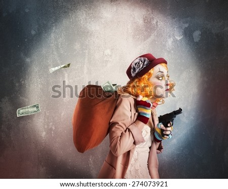 Woman clown discovered while robbing much money - stock photo