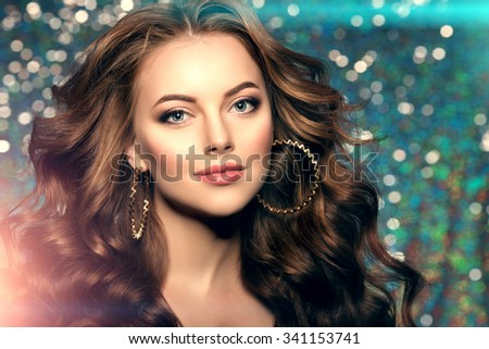 Woman club lights party background Dancing girl Long hair. Waves  - stock photo