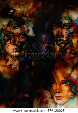 Woman collage, color abstract background with spots. Painting collage