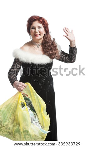 woman collects money into the package - stock photo