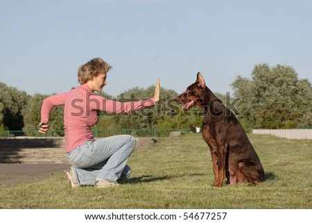 woman commands her dog to sit or stay - stock photo