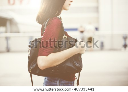 Woman Commuter City Life Traveling Downtown Walking Concept - stock photo