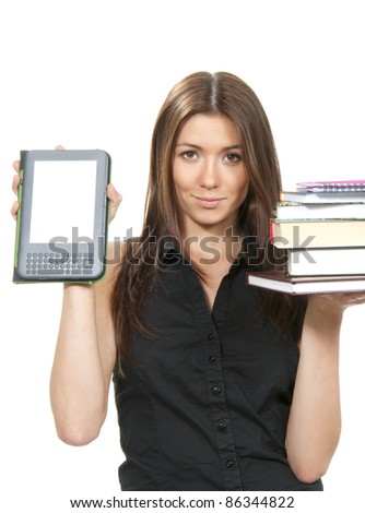 Woman compare books and new wireless reading digital book Device. She holds books and ebook reader in hands like balance isolated over white background - stock photo