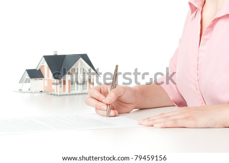Woman confirm mortgage contract (estate agency client sign contract) - stock photo