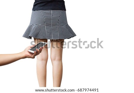 Woman Confronted Pervert Taking Pictures Under Stock Photo Safe To