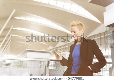 Woman Connection Internet Technology Working Concept