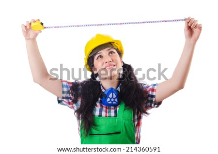 Woman construction worked measuring distance - stock photo