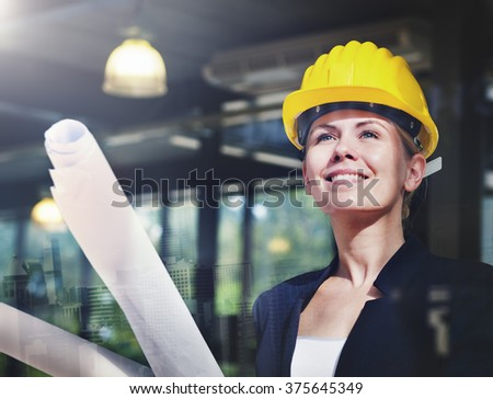 Woman Construction Worker Project Design Concept - stock photo