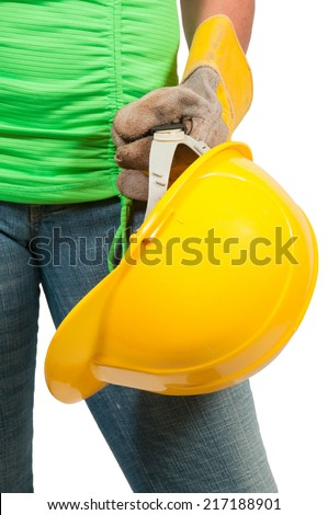 Woman construction worker with hard hat and work gloves - stock photo