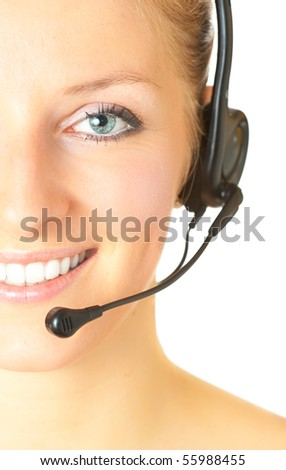 Woman consultant with headset and mic isolated - stock photo