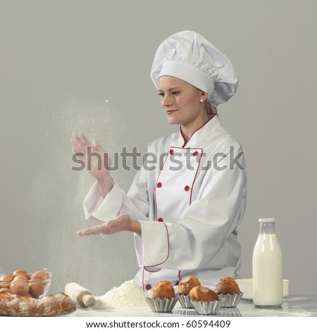 woman cook at the kitchen - stock photo