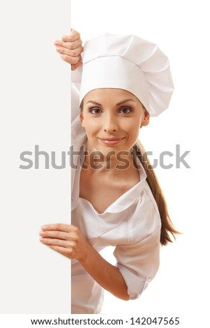 Woman cook holding paper sign, isolated on white background