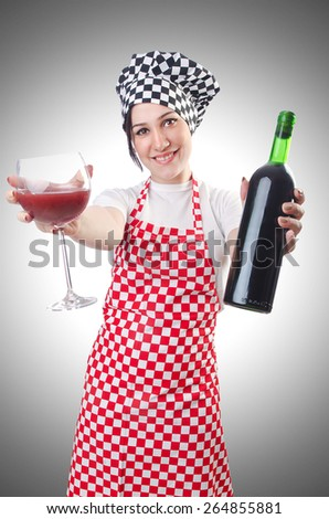 Woman cook isolated on the white - stock photo