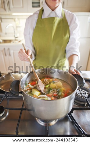 Woman cooking vegetable soup in the pot - stock photo