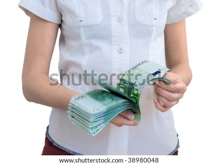 Woman counts euro. Isolated from background. Selective focus - stock photo