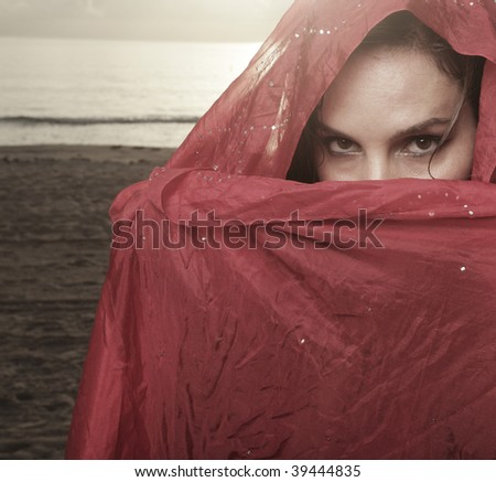Woman covered in a silk veil - stock photo