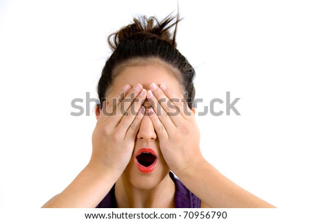 Woman Covering Eyes With Her Hands - stock photo