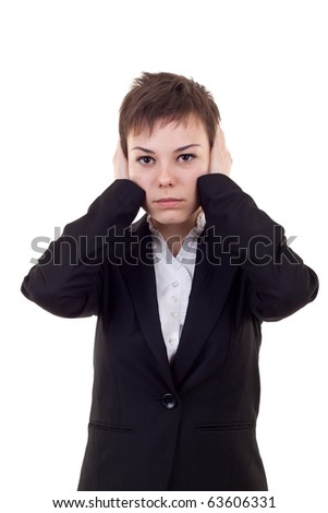 Woman covering her ears -Hear no evil , isolated on white background - stock photo