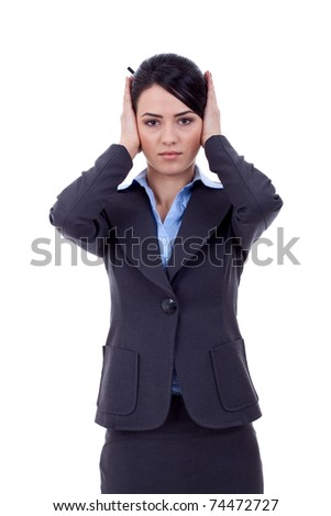 Woman covering her ears - Hear no evil , isolated on white background - stock photo