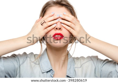 Woman Covering Her Eyes, red lips - stock photo