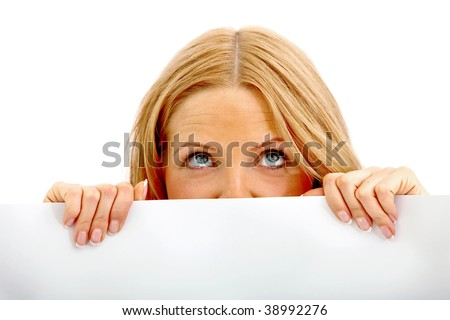Woman covering her face with a banner isolated - stock photo