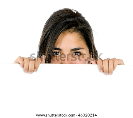 Woman covering her face with a banner isolated on white