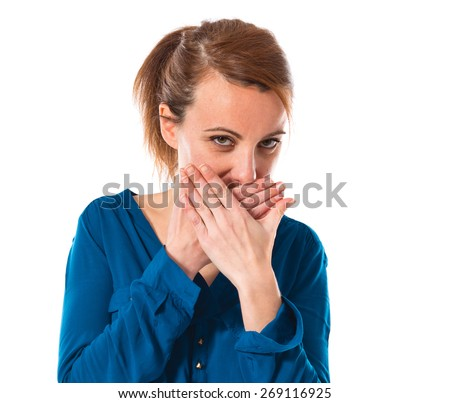 Woman covering her mouth  - stock photo