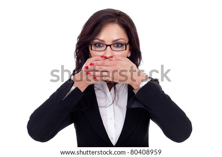 Woman covering her mouth - isolated on white background - stock photo