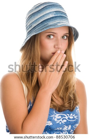 Woman covering mouth with hand - stock photo