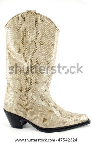 woman cowboy leather boot - stock photo