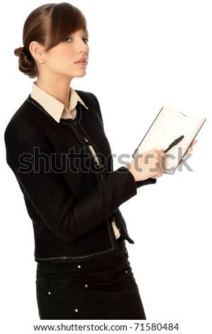 Woman creates the daily plan of action - stock photo