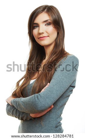 Woman crossed arms standing against white. Confident pose - stock photo