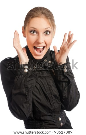 woman crying out with lifted hands standing on white background - stock photo